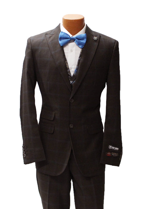 Stacy Adams Party Brown Windowpane Vested Classic Fit Suit
