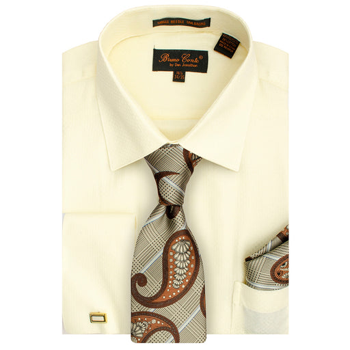 Bruno Conte 1082 Ivory Regular Fit Dress Shirt Combo