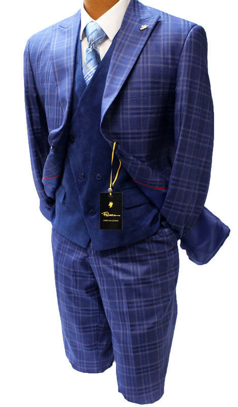 Falcone Roy Blue Windowpane Vested Classic Fit Suit
