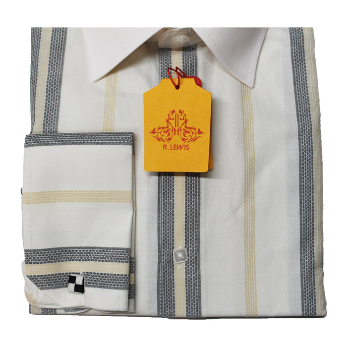 R. Lewis Cream Pinstripe Regular Fit Dress Shirt