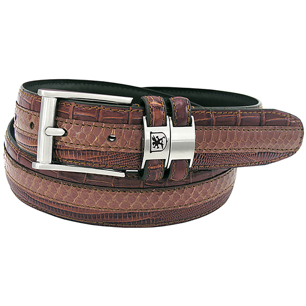 Stacy Adams Maes Cognac Genuine Snakeskin Emboss Belt