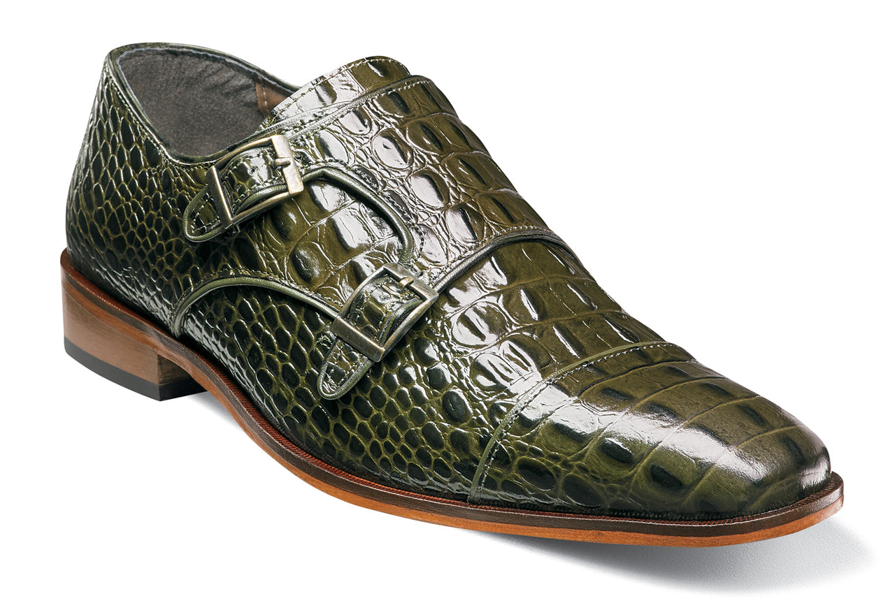 Stacy Adams Golato Olive Cap Toe Monk Strap