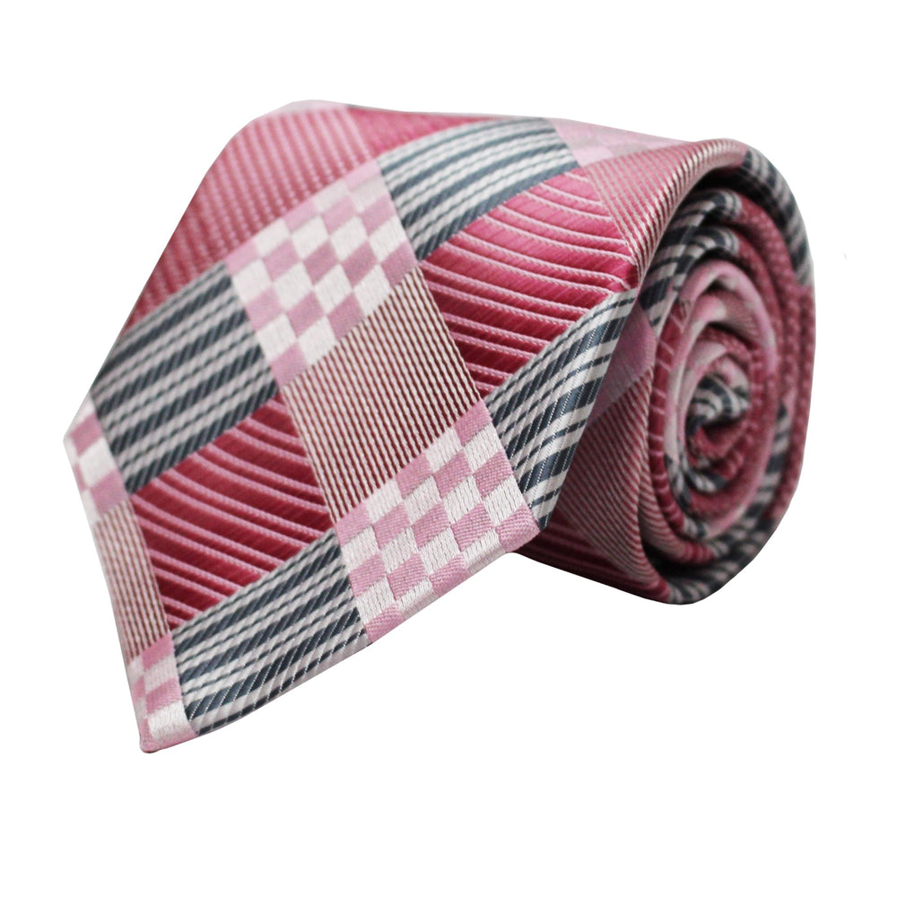 Venturi Uomo Pink and Grey Dice Tie and Handkerchief