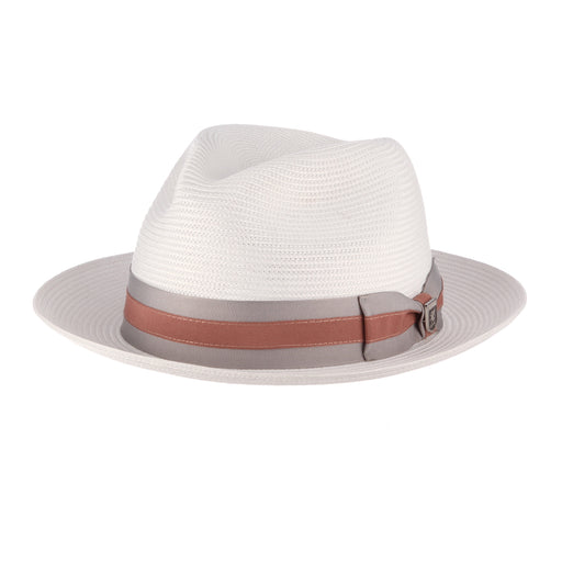 Stacy Adams Canarsie White Poly Braid Fedora Hat
