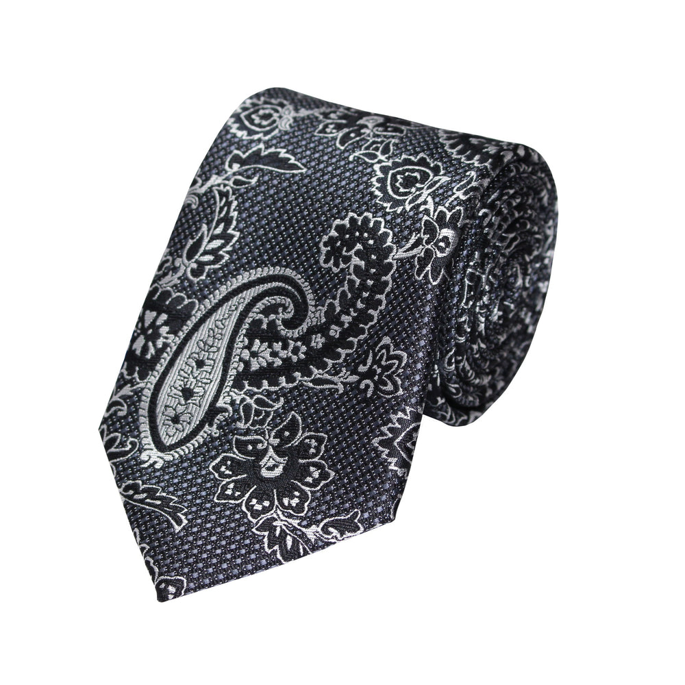 Stacy Adams Charcoal Paisley Tie and Handkerchief