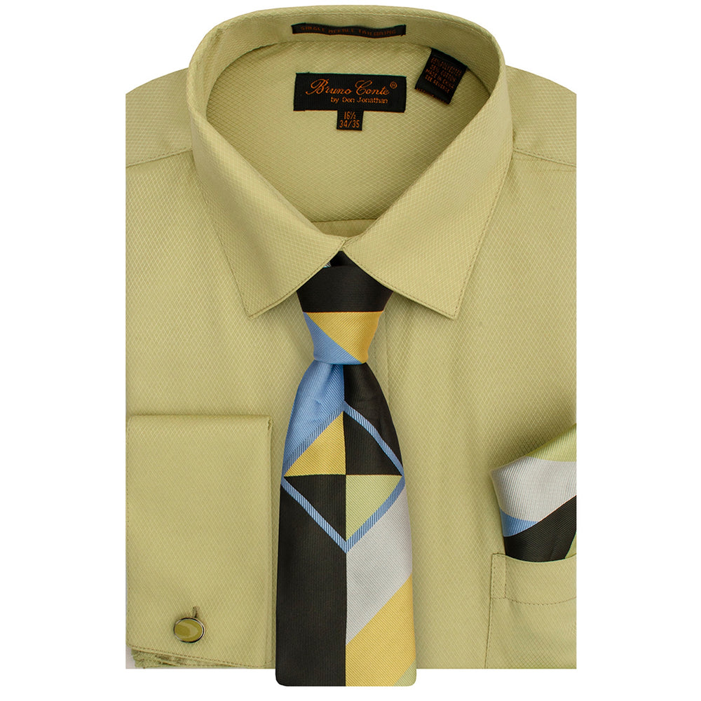 Bruno Conte 1085 Light Olive Regular Fit Dress Shirt Combo