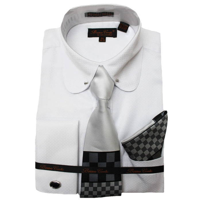 Bruno Conte White Textured Regular Fit Dress Shirt Combo