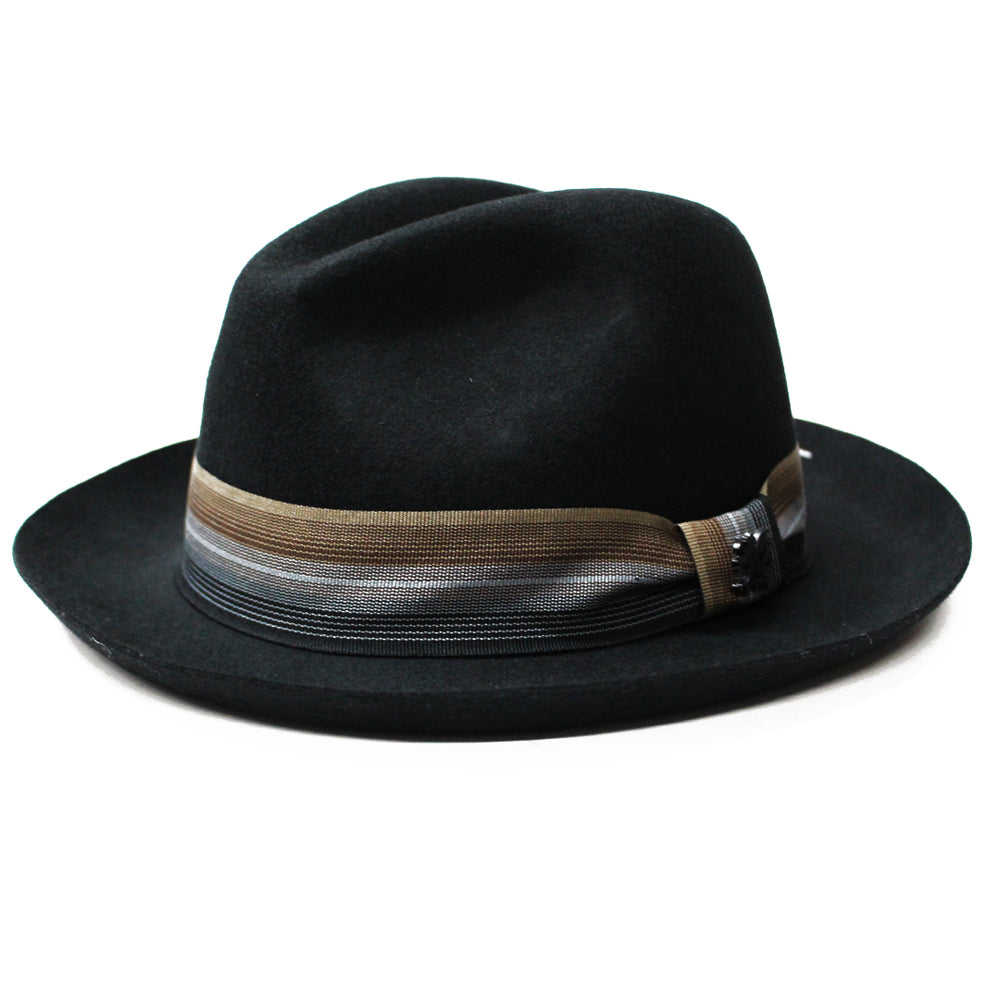 Stacy Adams Black Wool Felt Pinch Front Hat