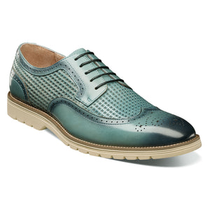 Stacy Adams Emile Chalk Teal Blue Wingtip Oxford Shoes
