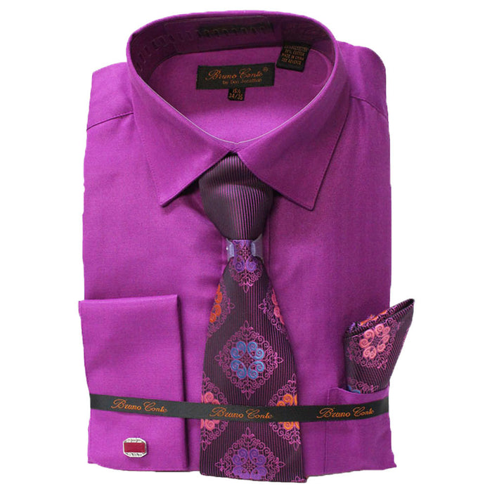 Bruno Conte Fuschia Regular Fit Dress Shirt Combo