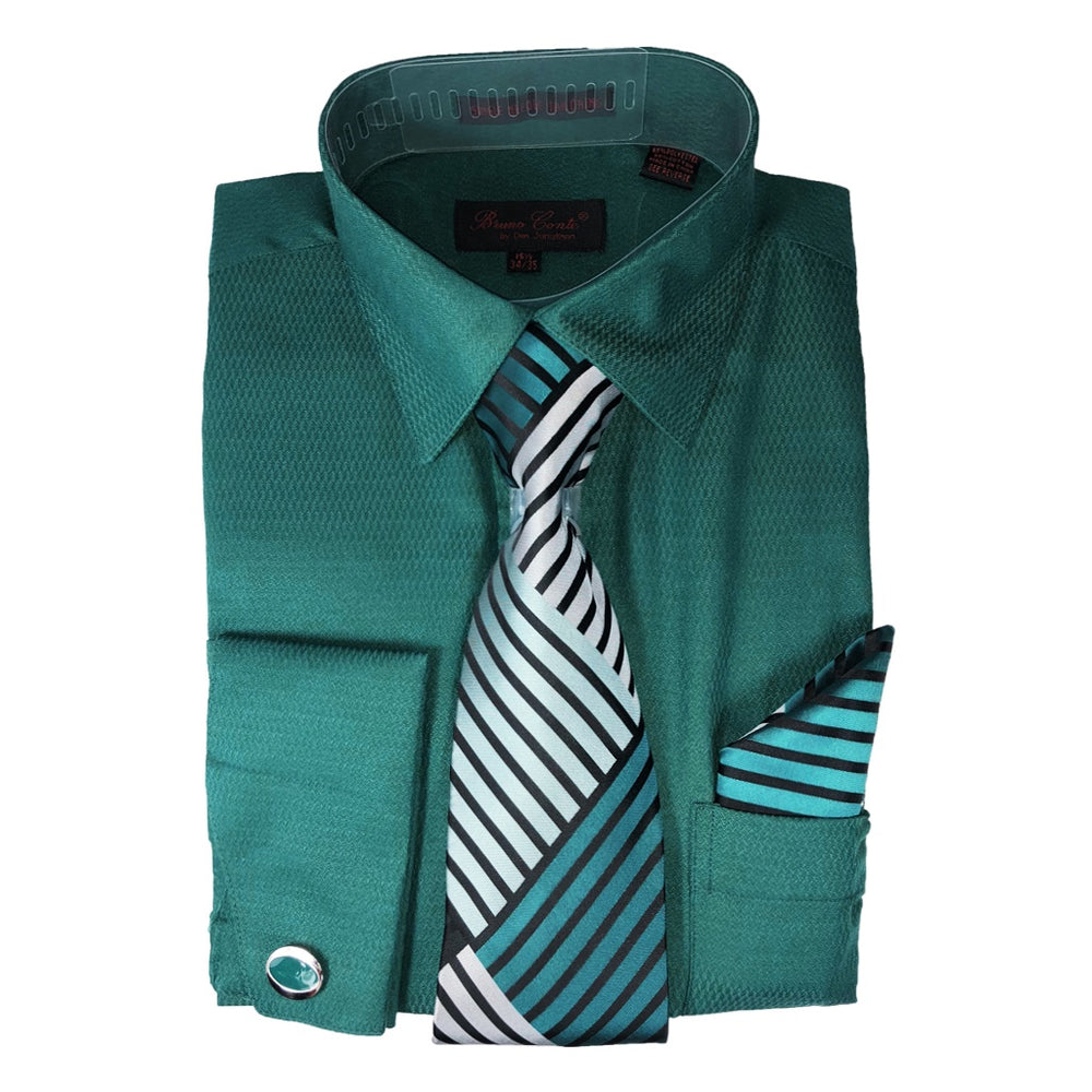 Bruno Conte Dk Teal Regular Fit Dress Shirt Combo