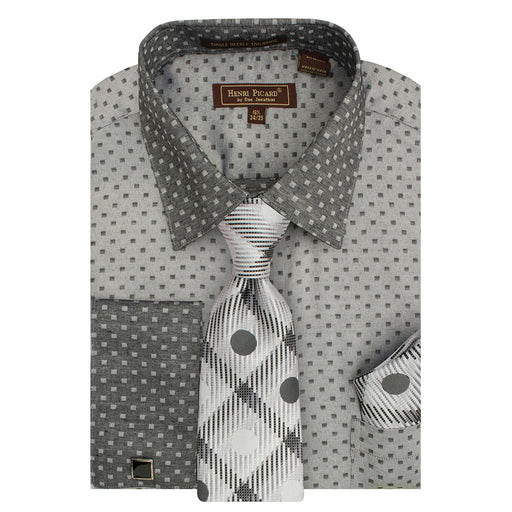 Henri Picard 163 Dark Grey Regular Fit Dress Shirt Combo