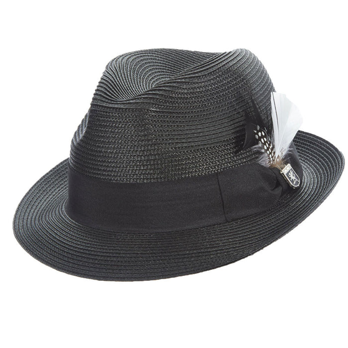 Stacy Adams Black Poly Braid Pinch Front Fedora Hat 1