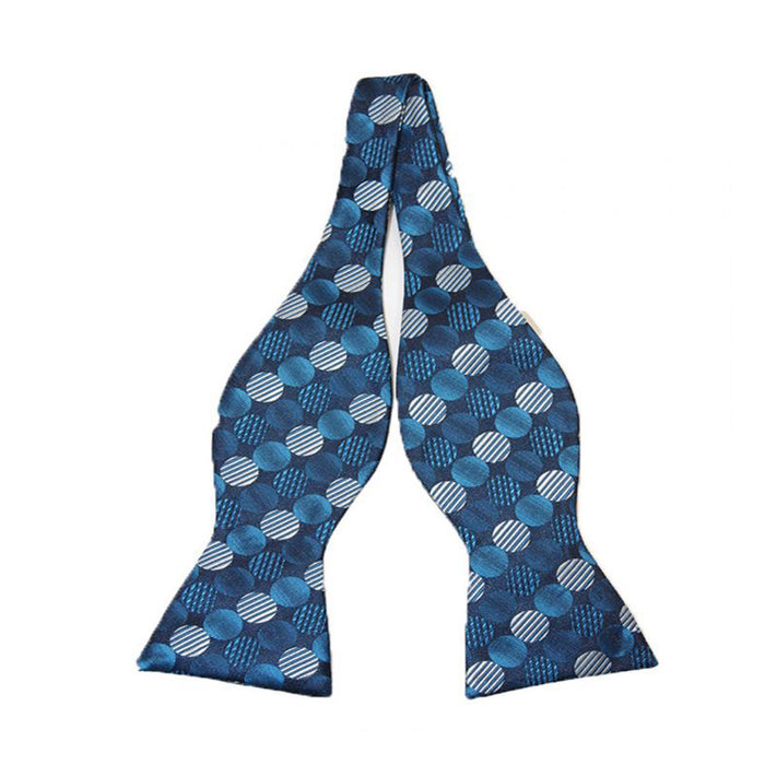 Gianfranco Blue Dot Freestyle Bow Tie and Handkerchief
