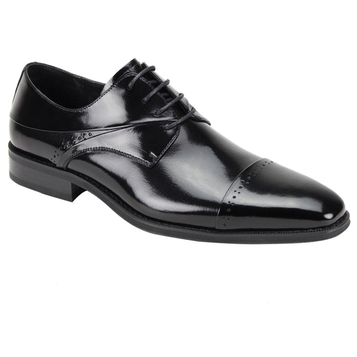 Giovanni Hudson Black Cap Toe Dress Shoes