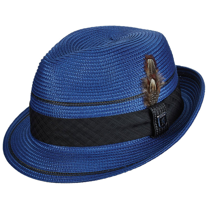 Stacy Adams Royal Blue Poly Braid Pinch Front Fedora Hat