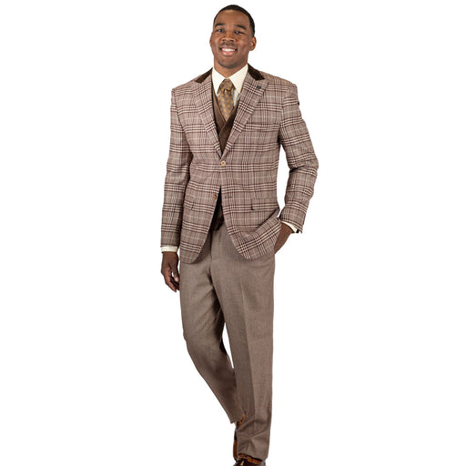Stacy Adams Roy T Brown Plaid Modern Fit Suit
