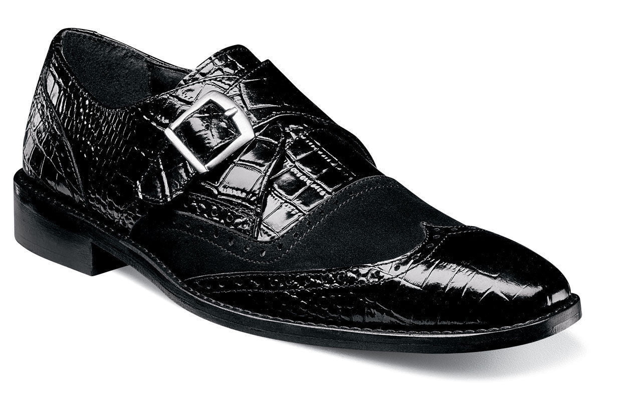 Stacy Adams Arrico Black Wing Tip Monk Strap Slip Ons
