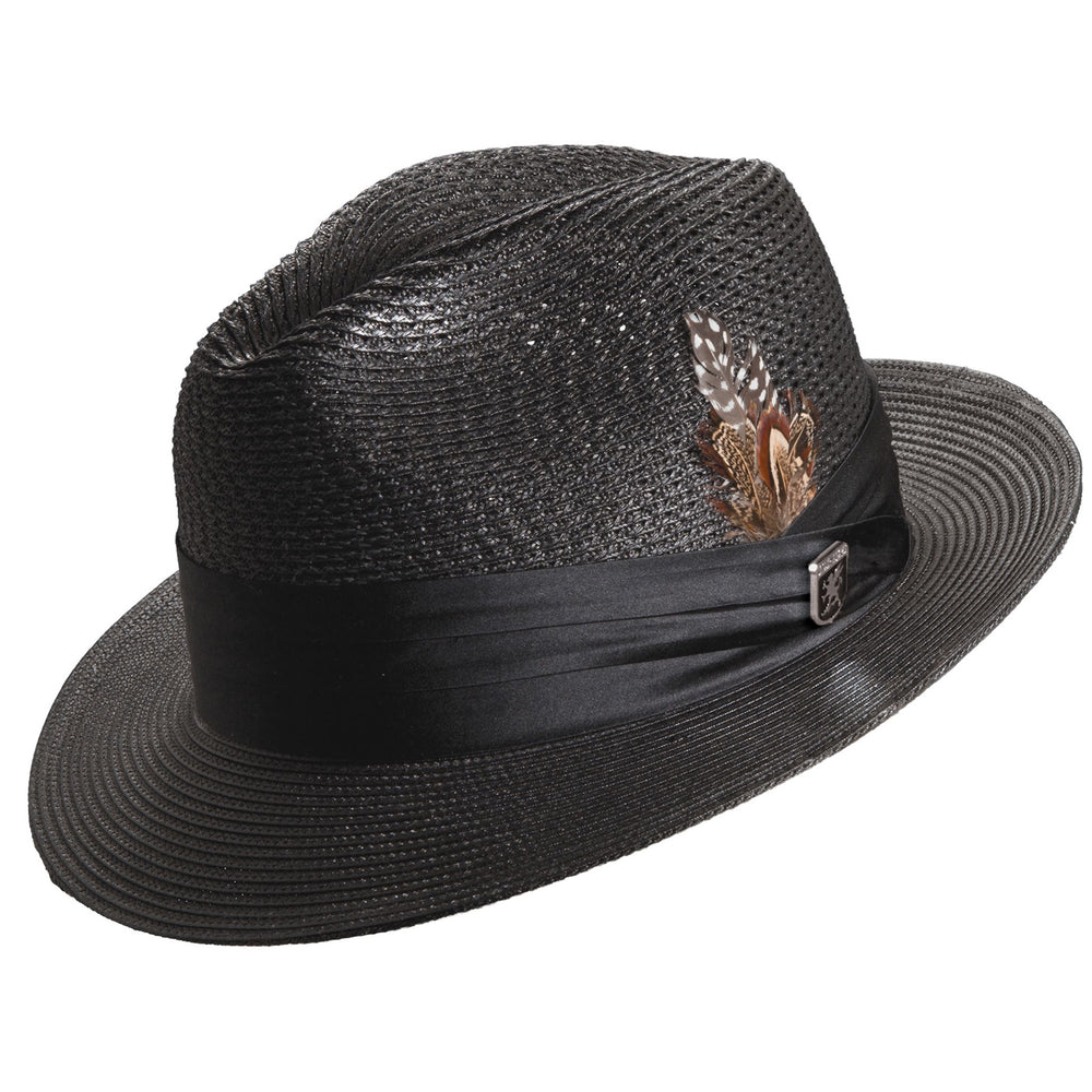 Stacy Adams Dublin Black Poly Braid Fedora Hat