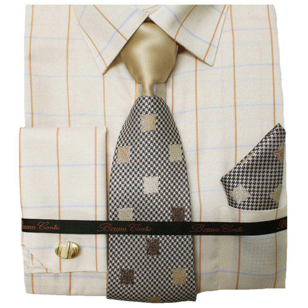 Bruno Conte Ivory Check Regular Fit Dress Shirt Combo