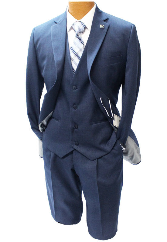 Stacy Adams Suny Navy Blue Vested Suit Mens Suits