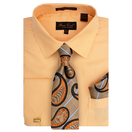 Bruno Conte 1082 Peach Regular Fit Dress Shirt Combo