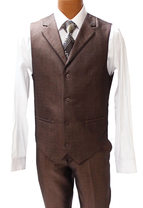 Falcone Edge Brown Textured Vested Modern Fit Suit