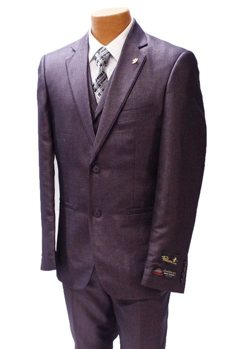 Falcone Edge Plum Textured Vested Modern Fit Suit