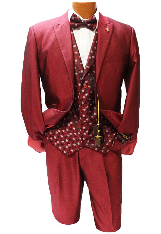 Falcone Party Red Five Piece Vested Classic Fit Suit