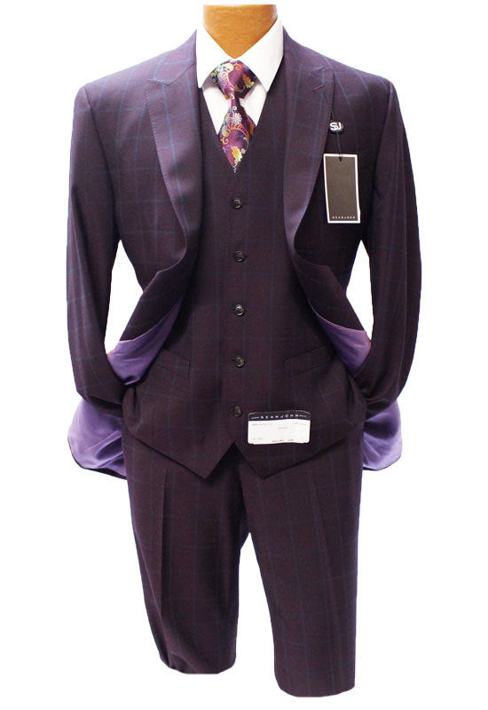 Sean John Burgundy Windowpane Vested Modern Fit Suit