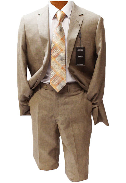 Angelo Rossi Tan Textured Modern Fit Suit
