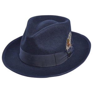 Stacy Adams Navy Pinch Front Fedora Hat