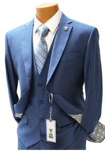 Stacy Adams Bud Blue Vested Modern Fit Suit