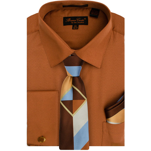 Bruno Conte 1085 Cognac Regular Fit Dress Shirt Combo