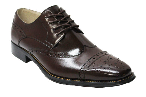 Giovanni Chocolate Brown Cap Toe Wingtip Oxford