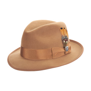Stacy Adams Pecan Pinch Front Fedora Hat