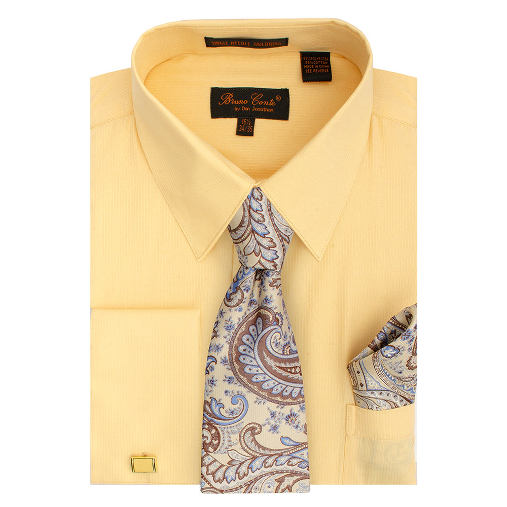 Bruno Conte 1081 Light Tan Regular Fit Dress Shirt Combo