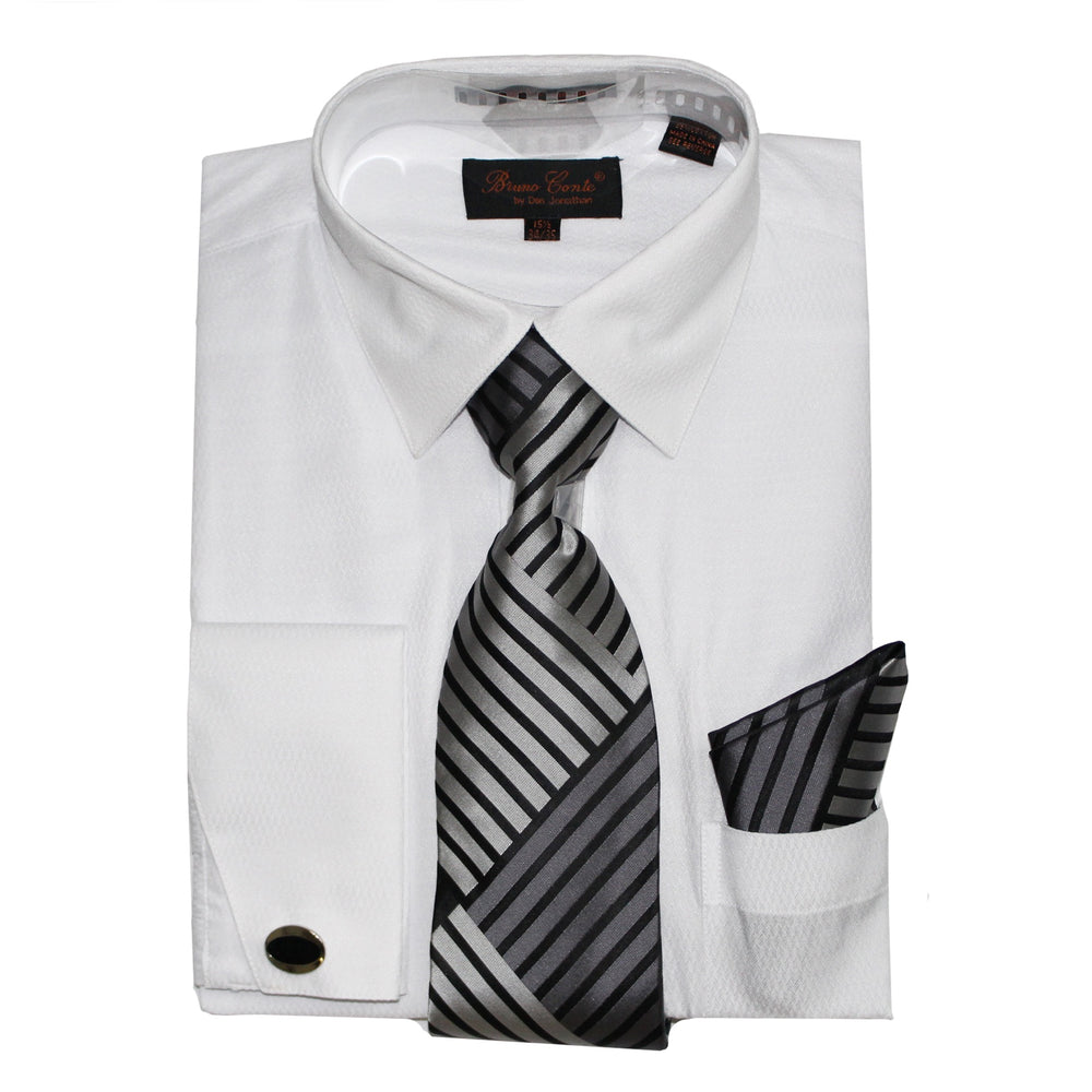 Bruno Conte 1074 White Regular Fit Dress Shirt Combo