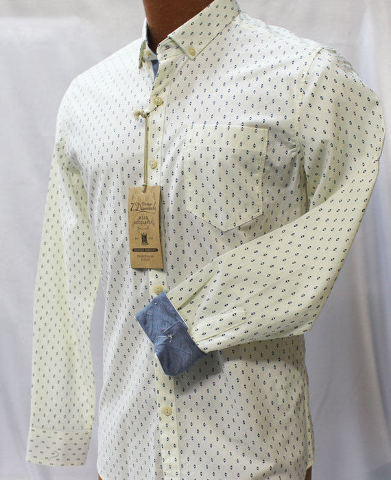 7 Diamonds Ivory Long Sleeve Slim Fit Shirt
