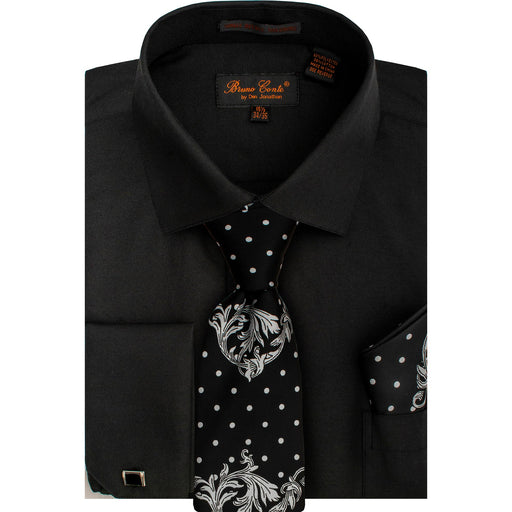 Bruno Conte 1086 Black Regular Fit Dress Shirt Combo