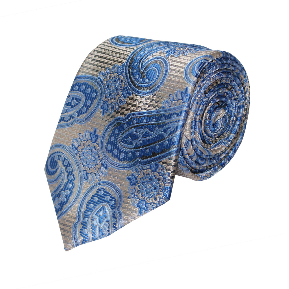 Gianfranco Grey and Blue Tie and Handkerchief