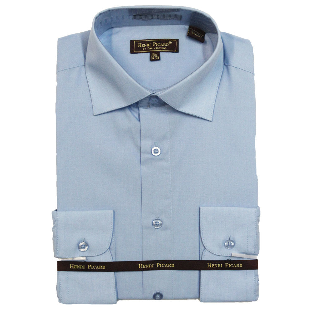 Henri Picard Light Blue Regular Fit Dress Shirt