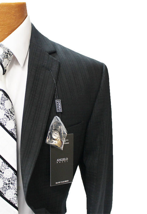 Angelo Rossi Black with Check Modern Fit Suit