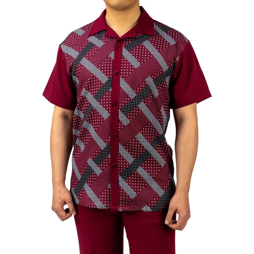 Bruno Conte Pattern Wine Walking Suit