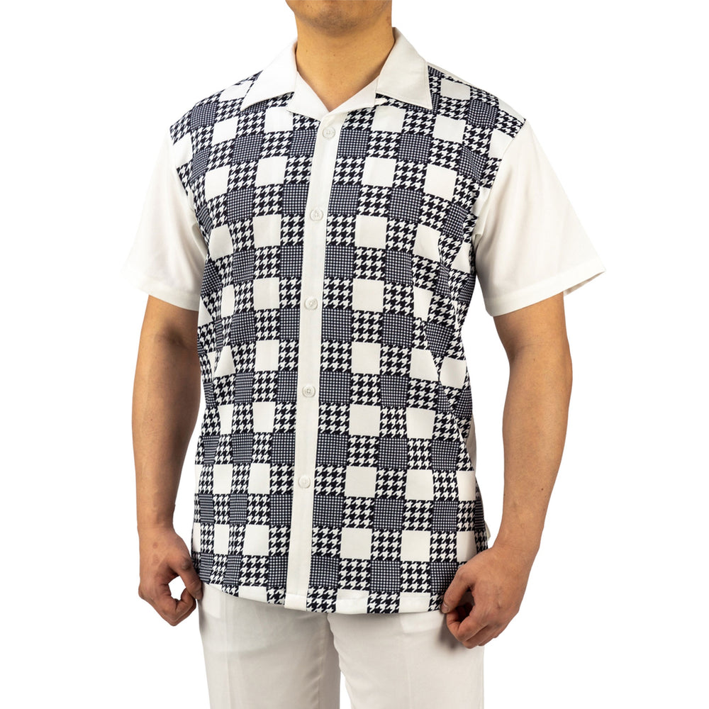 Bruno Conte Square Pattern White Walkng Suit