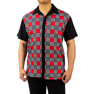 Bruno Conte Square Pattern Black and Red Walking Suit