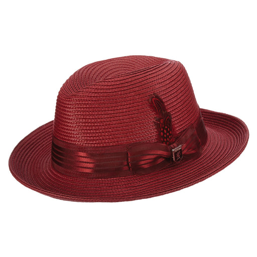 Stacy Adams Kingston Burgundy Poly Braid Fedora Hat