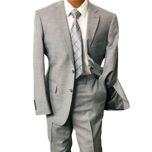 MDZ Light Gray Textured Modern Fit Men's Suit