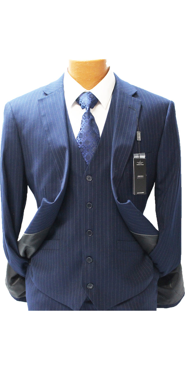 Angelo Rossi Navy Pinstripe Vested Modern Fit Suit
