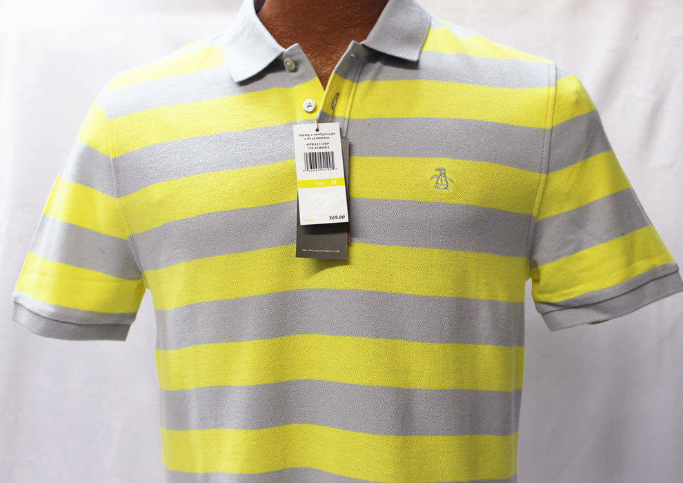 Original Penguin Aurora Yellow and Gray Slim Fit Polo